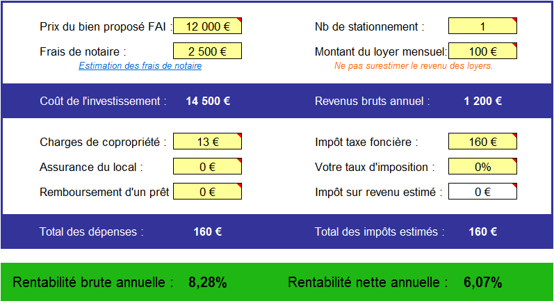 Analyse parking à vendre Les Lilas
