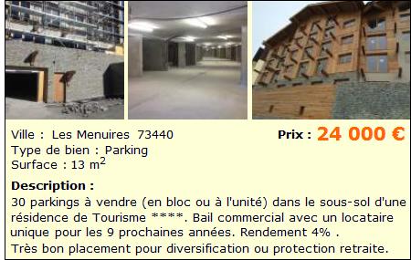 analyse du lot de 34 parkings vendre aux m nuires. Black Bedroom Furniture Sets. Home Design Ideas
